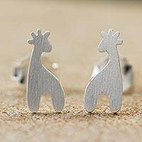 Sterling silver button earrings, 'Happy Giraffes'