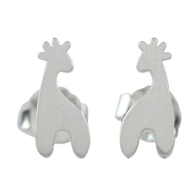 Sterling silver button earrings, 'Happy Giraffes' - Sterling Silver Giraffe Button Earrings from Thailand