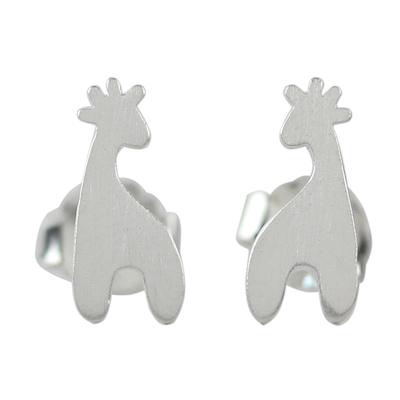 Sterling Silver Giraffe Button Earrings from Thailand