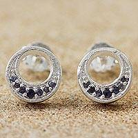 Iolite stud earrings, 'Lovely Moon' - Thai Sterling Silver and Iolite Moon Theme Stud Earrings