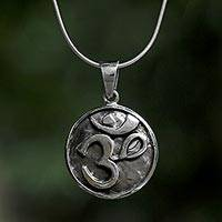 Sterling silver pendant necklace, 'Om Spirit' - Sterling Silver Round Om Pendant Necklace from Thailand