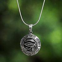 Sterling silver pendant necklace, 'Watchful Horus' - Sterling Silver Eye of Horus Pendant Necklace from Thailand