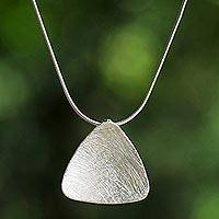 Sterling silver pendant necklace, 'Modern Appeal' - Sterling Silver Modern Pendant Necklace from Thailand