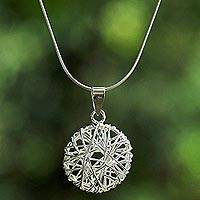 Sterling silver pendant necklace, 'Circular Nest' - Sterling Silver Wire Pendant Necklace from Thailand