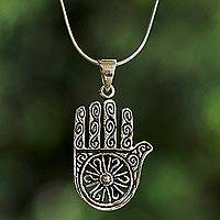 Sterling silver pendant necklace, 'Spiraling Hamsa' - Sterling Silver Spiral Hamsa Pendant Necklace from Thailand