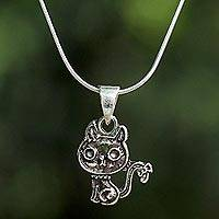 Sterling silver pendant necklace, 'Pampered Cat' - Sterling Silver Cat Pendant Necklace from Thailand