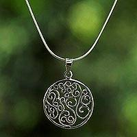 Sterling silver pendant necklace, 'Charming Spirals' - Thai Sterling Silver Circular Spiral Pendant Necklace