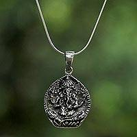 Sterling silver pendant necklace, 'Ganesha Companion' - Sterling Silver Ganesha Pendant Necklace from Thailand