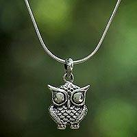 Sterling silver pendant necklace, 'Owl Companion' - Sterling Silver Owl Pendant Necklace from Thailand