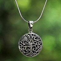 Sterling silver pendant necklace, 'Tree by Day and Night' - Sterling Silver Tree Pendant Necklace from Thailand