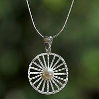 Cultured pearl pendant necklace, 'Glowing Spokes' - Thai Cultured Pearl Sterling Silver Pendant Necklace