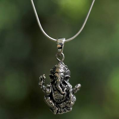 2f2082a3f Sterling silver pendant necklace, 'Beneficent Ganesha' - Sterling Silver  Ganesha Pendant Necklace from