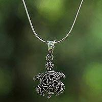 Sterling silver pendant necklace, 'Loving Turtle' - Sterling Silver Turtle Pendant Necklace from Thailand
