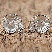 Sterling silver button earrings, 'Beautiful Spirals' - Sterling Silver Spiral Shell Button Earrings from Thailand