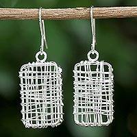 Sterling silver dangle earrings, 'Wire Boxes' - Sterling Silver Wire Dangle Earrings from Thailand