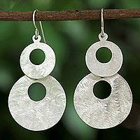 Sterling silver dangle earrings, 'Double Circles' - Sterling Silver Circular Dangle Earrings from Thailand