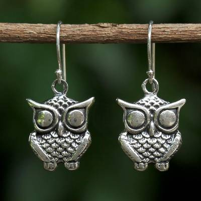 Sterling Silver Dangle Earrings Owl Companion From