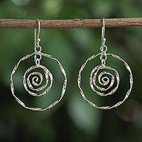 Sterling silver dangle earrings, 'Delicate Spirals' - Sterling Silver Spiral Dangle Earrings from Thailand