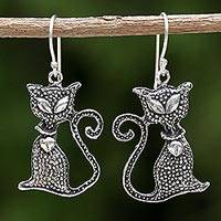 Sterling silver dangle earrings, 'Witch's Cat' - Sterling Silver Cat Dangle Earrings from Thailand