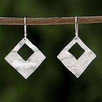Sterling silver dangle earrings, 'Window View' - Sterling Silver Diamond Shaped Dangle Earrings from Thailand
