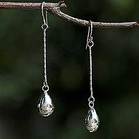 Sterling silver dangle earrings, 'See the World' - Sterling Silver Drop Shaped Dangle Earrings from Thailand