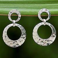 Sterling silver dangle earrings, 'Modern Duo' - Sterling Silver Double Circle Dangle Earrings from Thailand