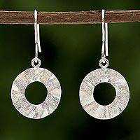 Sterling silver dangle earrings, 'Shimmering Rings' - Sterling Silver Circle Shaped Dangle Earrings from Thailand