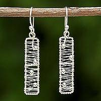 Sterling silver dangle earrings, 'Chiang Mai River' - Sterling Silver Rectangular Wire Thai Dangle Earrings