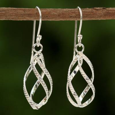 f2550cb56 UNICEF Market | Sterling Silver Helix Dangle Earrings from Thailand -  Elegant Helix