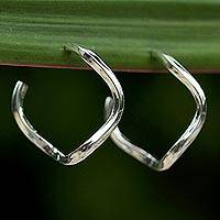 Sterling silver half-hoop earrings, 'Shining Twist' - Sterling Silver Half-Hoop Earrings from Thailand