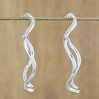 Sterling silver half-hoop earrings, 'Shining Curls' - Sterling Silver Twisting Half-Hoop Earrings from Thailand