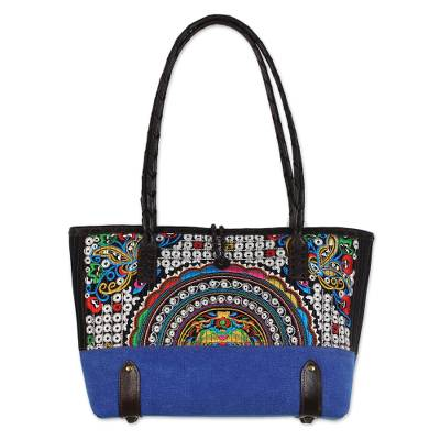 Novica Cotton blend shoulder bag, Joyful Spring