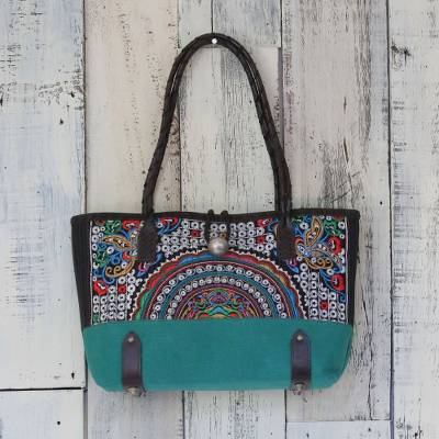 Leather accent cotton blend shoulder bag, Rainbow Sunrise in Emerald