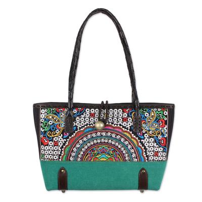 Novica Leather accent cotton blend shoulder bag, Rainbow Sunrise in Emerald