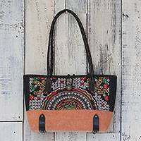 Leather accent cotton blend shoulder bag, 'Rainbow Sunrise in Tiger Lily' - Leather Accent Cotton Blend Shoulder Bag in Tiger Lily
