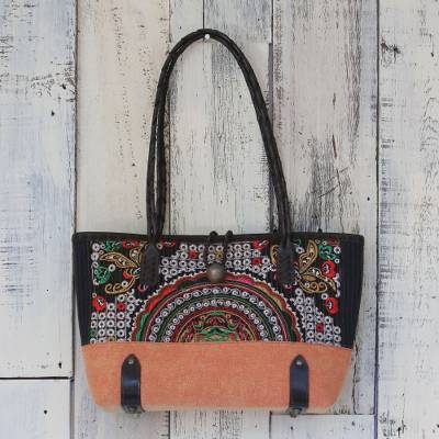 Leather accent cotton blend shoulder bag, Rainbow Sunrise in Tiger Lily