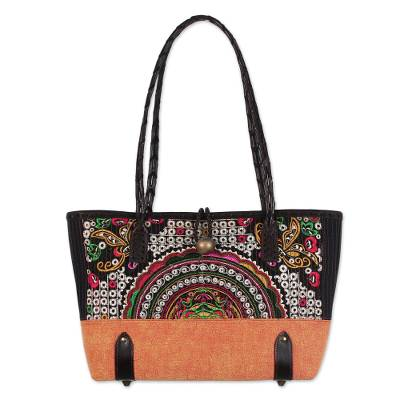 Novica Cotton and leather accent shoulder bag, Rainbow Chic
