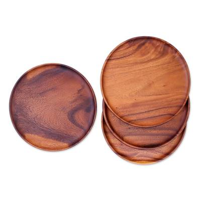 Wood plates, 'Natural Discs' (set of 4) - 4 Natural Wood Round 10' Plates Hand Crafted in Thailand