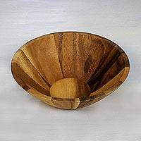 Wood serving bowl, 'Conical Nature' (1 quart) - 1 Quart Serving Bowl in Natural Wood Handmade in Thailand
