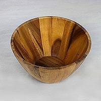 Wood serving bowl, 'Conical Nature' (3 quart) - 3 Quart Conical Wood Serving Bowl Hand Crafted in Thailand
