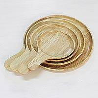 Wood serving plates, 'Nature's Lollipops' (set of 4) - 4 Artisan Crafted Wood Plates Hand Carved in Thailand