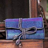 Silk blend jewelry roll, 'Happy Travels in Blue' - Handwoven Blue Striped Jewelry Roll from Thailand
