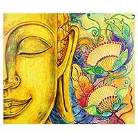 'Phuttha Bucha' - Signed Stretched Expressionist Painting of Floral Buddha