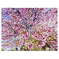 'The Wild Himalayan Cherry II' - Thai Landscape Painting of Himalaya Cherry Blossoms