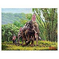 'Elephant Ploughing' - Signed Impressionist Painting of Elephants and Landscape
