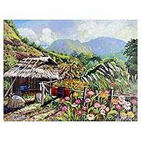 'Beautiful Thai Countryside I' - Signed Original Painting of a Small Thai Farmhouse