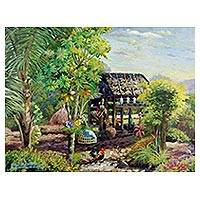 'Beautiful Thai Countryside II' - Northern Thailand Rural Scene Painting in Acrylics on Canvas