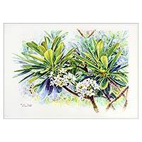 'The Frangipani Spring I' - Frangipani Tree Signed Watercolor Realist Painting