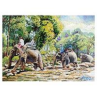 'Travel with Elephant' - Signed Thai Impressionist Painting of Elephant and Trees