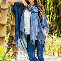 Cotton kimono jacket and scarf set, 'Midnight Blue Mystique' - Midnight Blue Cotton Thai Jacket with Light Blue Scarf Set